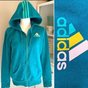 Adidas teal blue 3 stripe zip up sweater hoodie